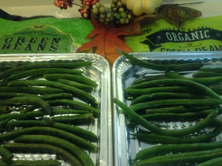Organic green beans tray freezing
