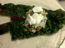 Swiss chard roll and filling open